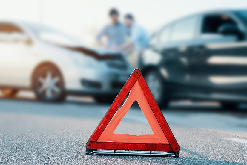 Two men involved in a car collision